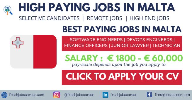 High Paying Jobs in Malta 2021 Latest Job Vacancies