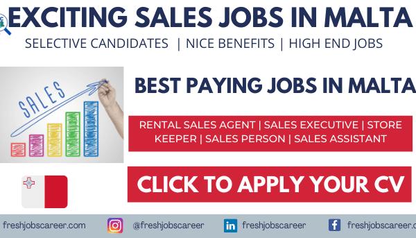 Sales Jobs in Malta Latest announcement 2021